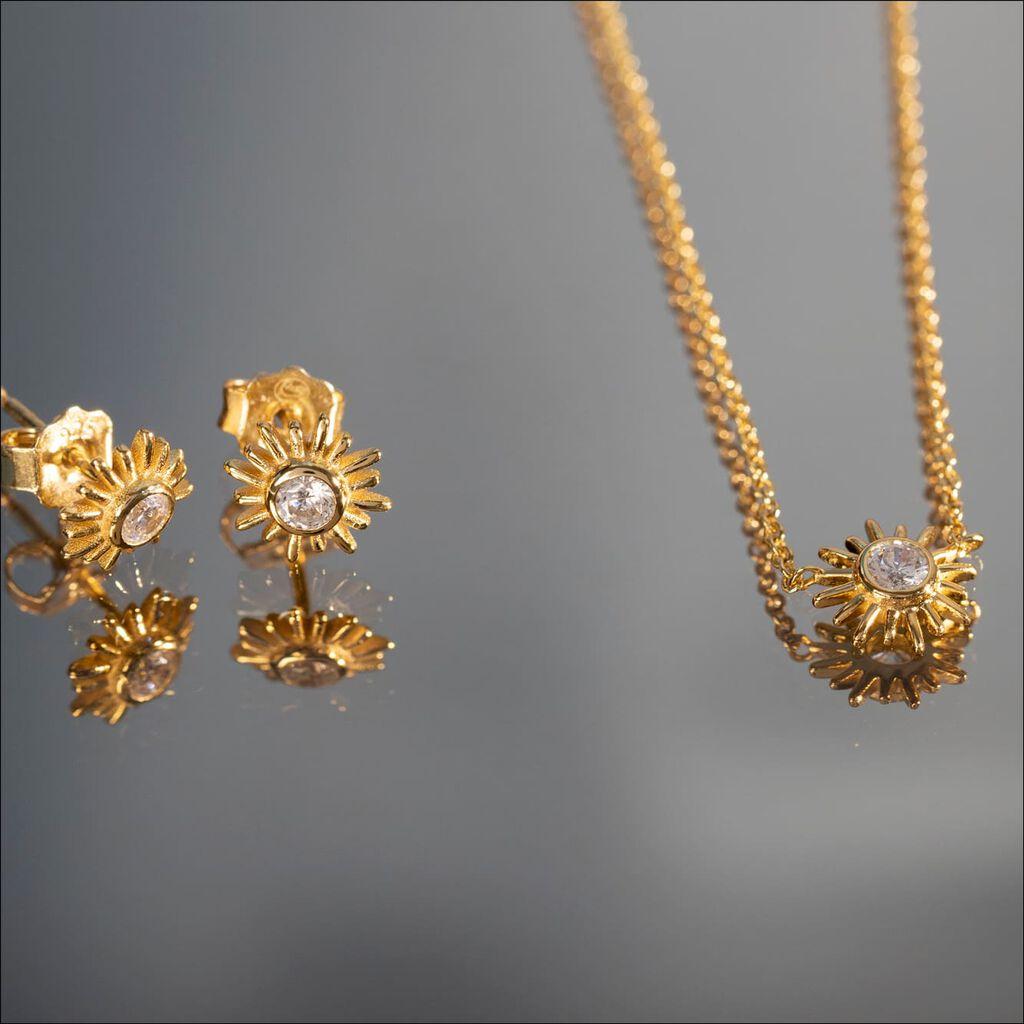 Damen Halskette Silber 925 Vergoldet Zirkonia - Ketten mit Anhänger Damen   Oro Vivo