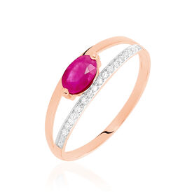 Damenring Roségold 375 Rubin Diamanten 0,06ct - Ringe mit Edelsteinen  | Oro Vivo