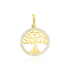 Anhänger Gold 375 Zirkonia Lebensbaum - Schmuckanhänger Damen   Oro Vivo
