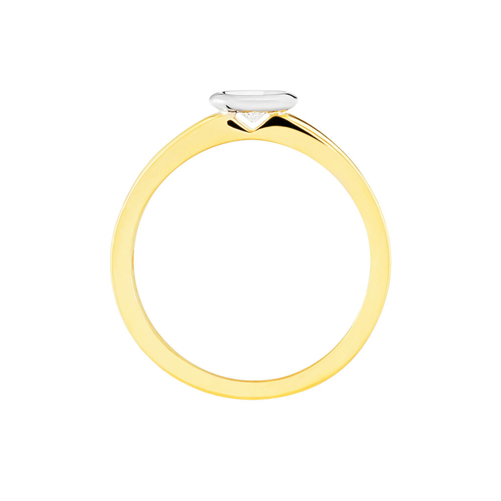 Solitärring Gold 585 Bicolor Diamant 0,1ct - Ringe mit Edelsteinen Damen | Oro Vivo
