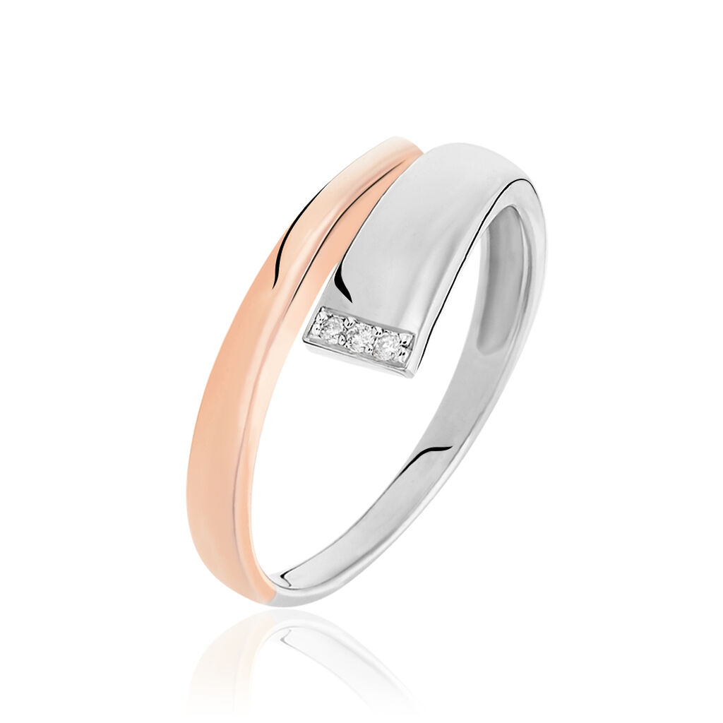 Damenring Silber 925 Bicolor Vergoldet Diamanten - Ringe mit Edelsteinen Damen | Oro Vivo