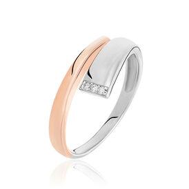 Damenring Silber 925 Bicolor Vergoldet Diamanten - Ringe mit Edelsteinen    Oro Vivo