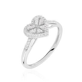 Damenring Weißgold 375 Diamanten 0,14ct Herz - Ringe mit Edelsteinen Damen | Oro Vivo