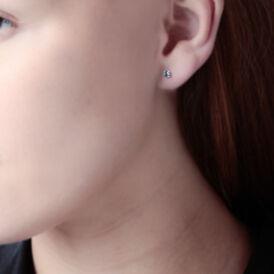 Damen Ohrstecker Weißgold 375 Blauer Zirkonia 3mm - Ohrstecker Damen | Oro Vivo