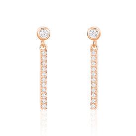Damen Ohrstecker Lang Silber 925 Rosé Vergoldet - Ohrstecker Damen | Oro Vivo