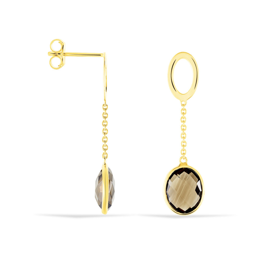 Damen Ohrstecker Lang Gold 375 Rauchquarz - Black Friday Damen | Oro Vivo