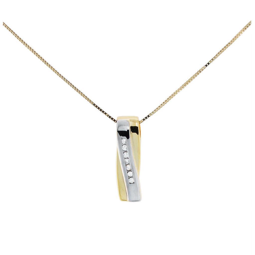Damen Halskette Gold 333 Bicolor Diamanten 0,07ct - Ketten mit Anhänger Damen | Oro Vivo