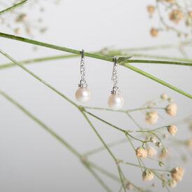 Damen Perlenohrringe Silber 925 Zuchtperlen - Ohrhänger    Oro Vivo