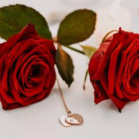Damen Halskette Silber 925 Rosé Vergoldet Gravur - Herzketten Damen   Oro Vivo