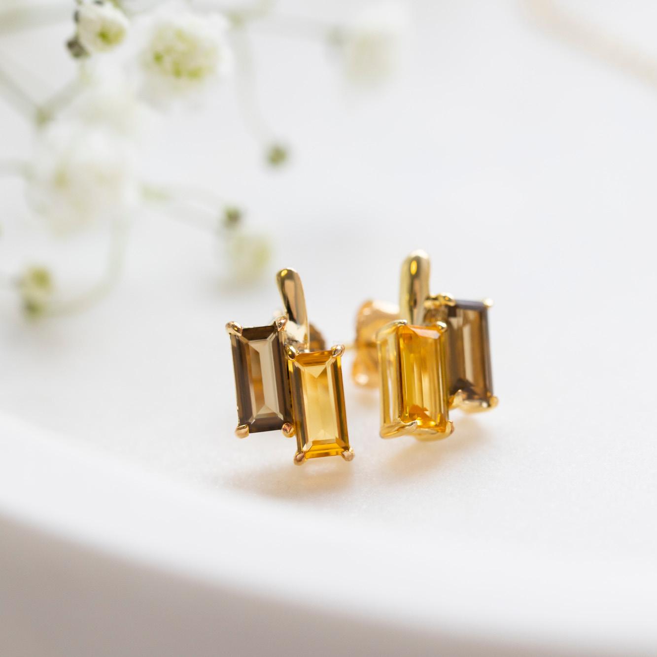 Damen Ohrstecker Silber 925 Vergoldet Citrin Quarz