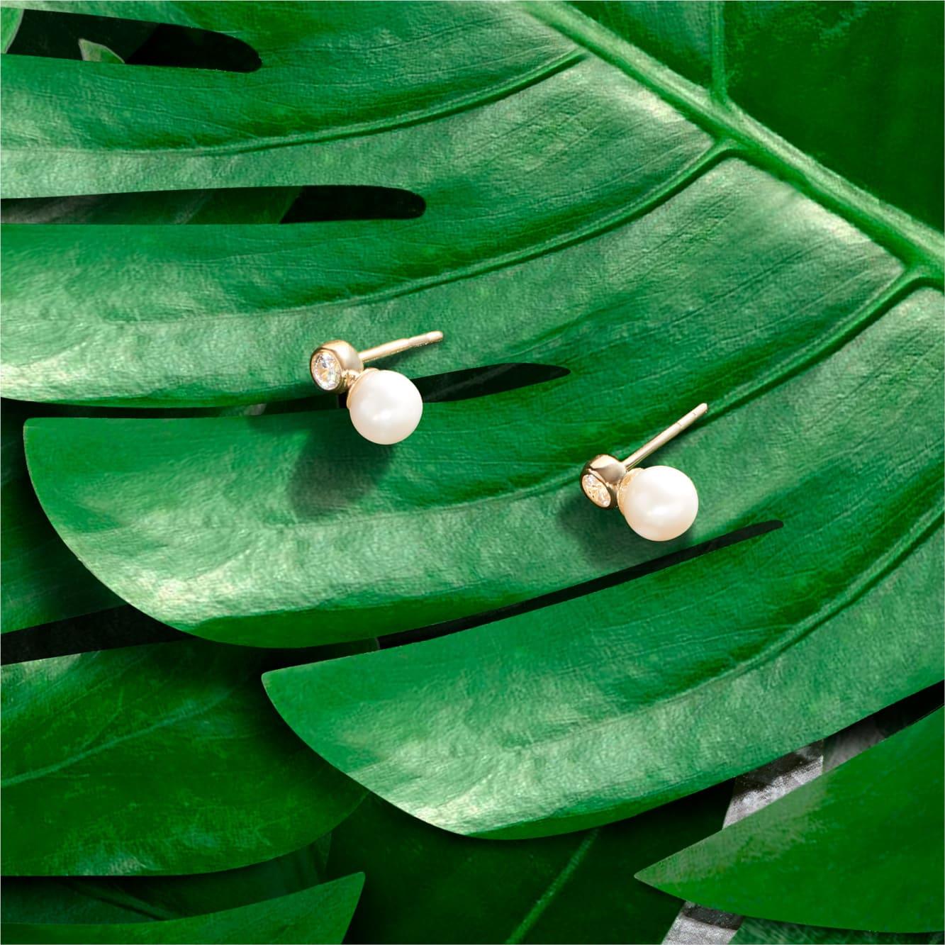 Damen Perlenohrringe Gold 375 Zuchtperle Zirkonia