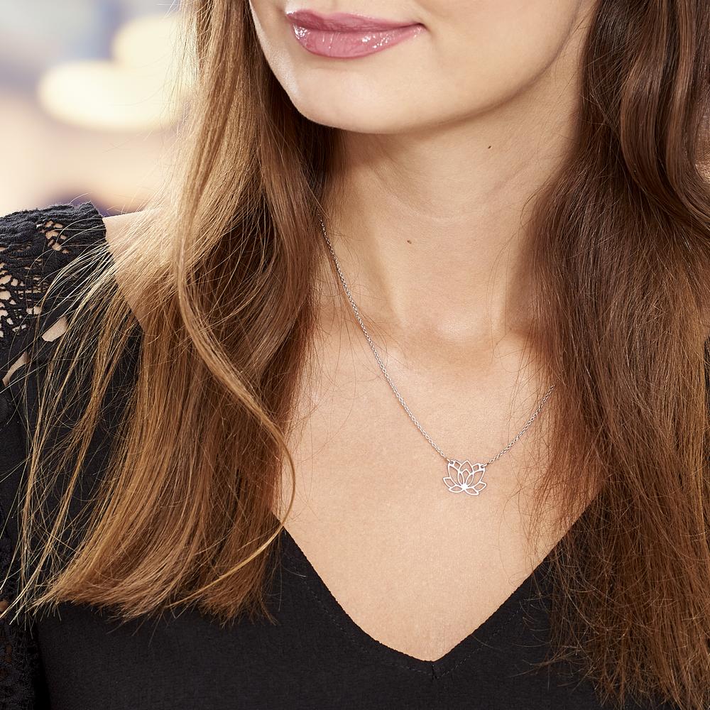 Damen Halskette Silber 925 Rhodiniert Lotus