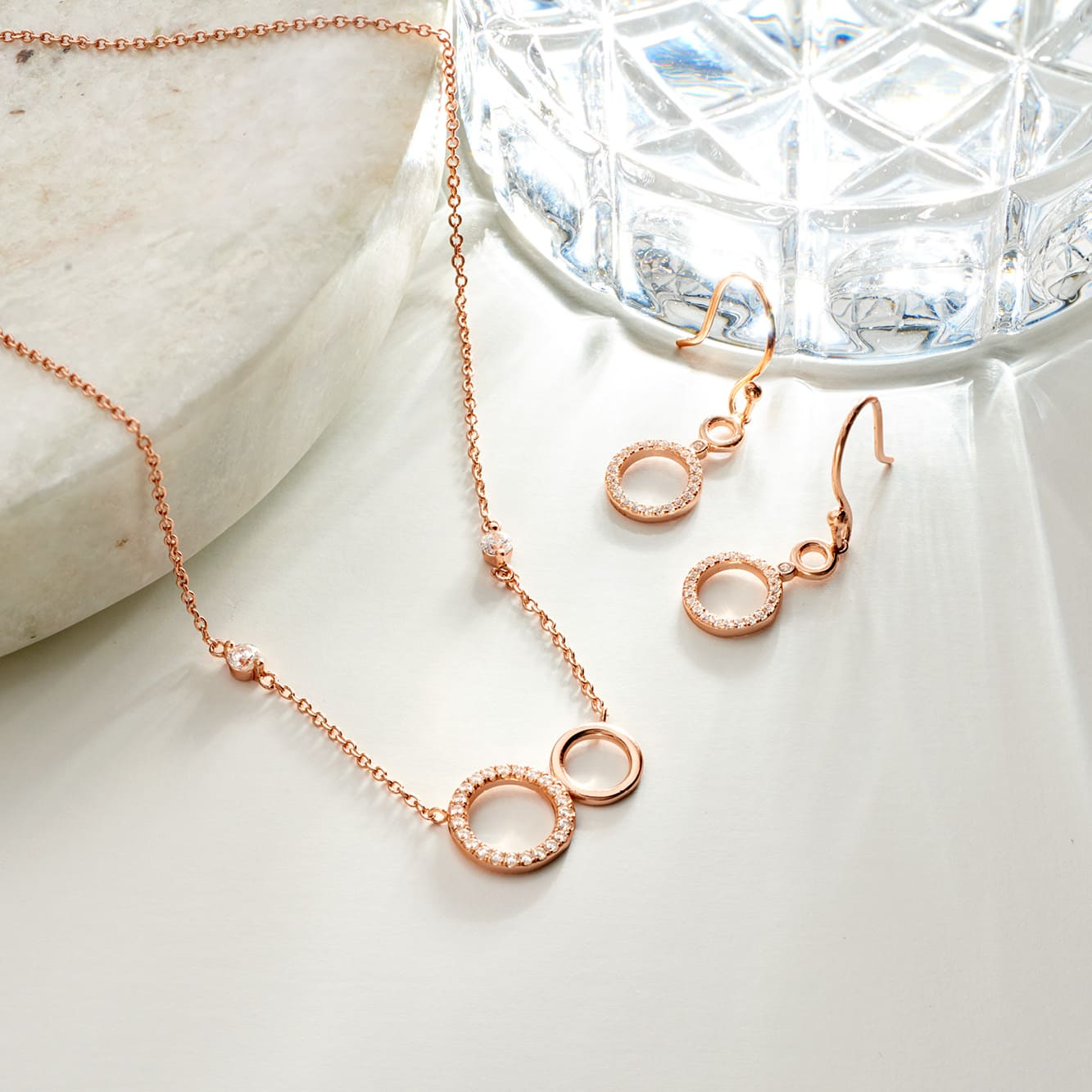 Damen Ohrhänger Lang Silber 925 Rosé Vergoldet