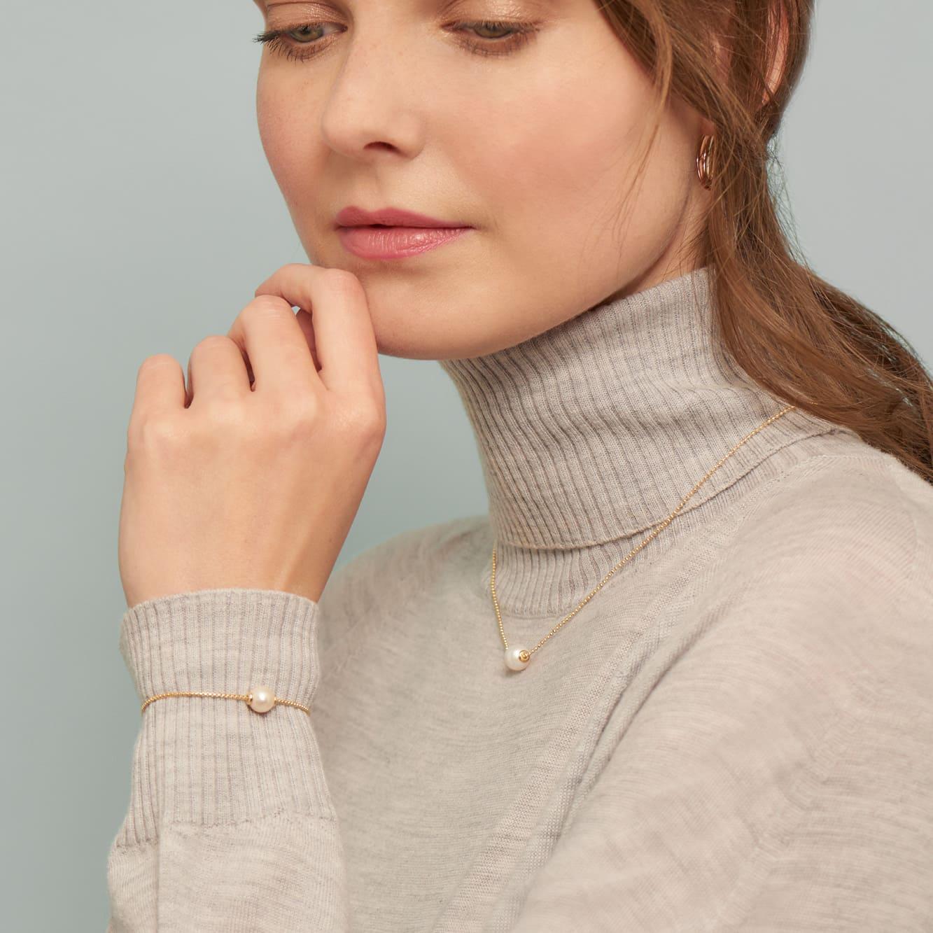 Damen Halskette Silber 925 Vergoldet Zuchtperle