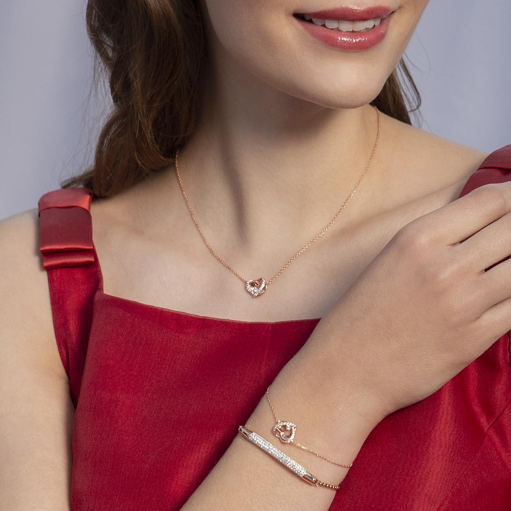 Damen Halskette Silber 925 Rosé Vergoldet Herz