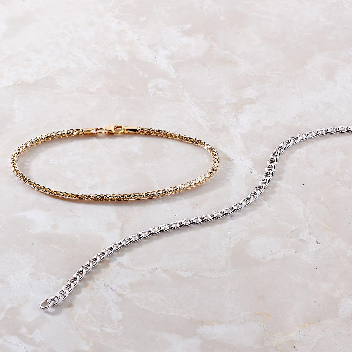 Damenarmband Gold 585 Bicolor