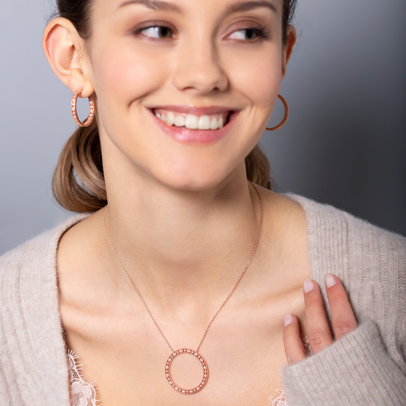 Damen Creolen Silber 925 Rosé Vergoldet Zirkonia