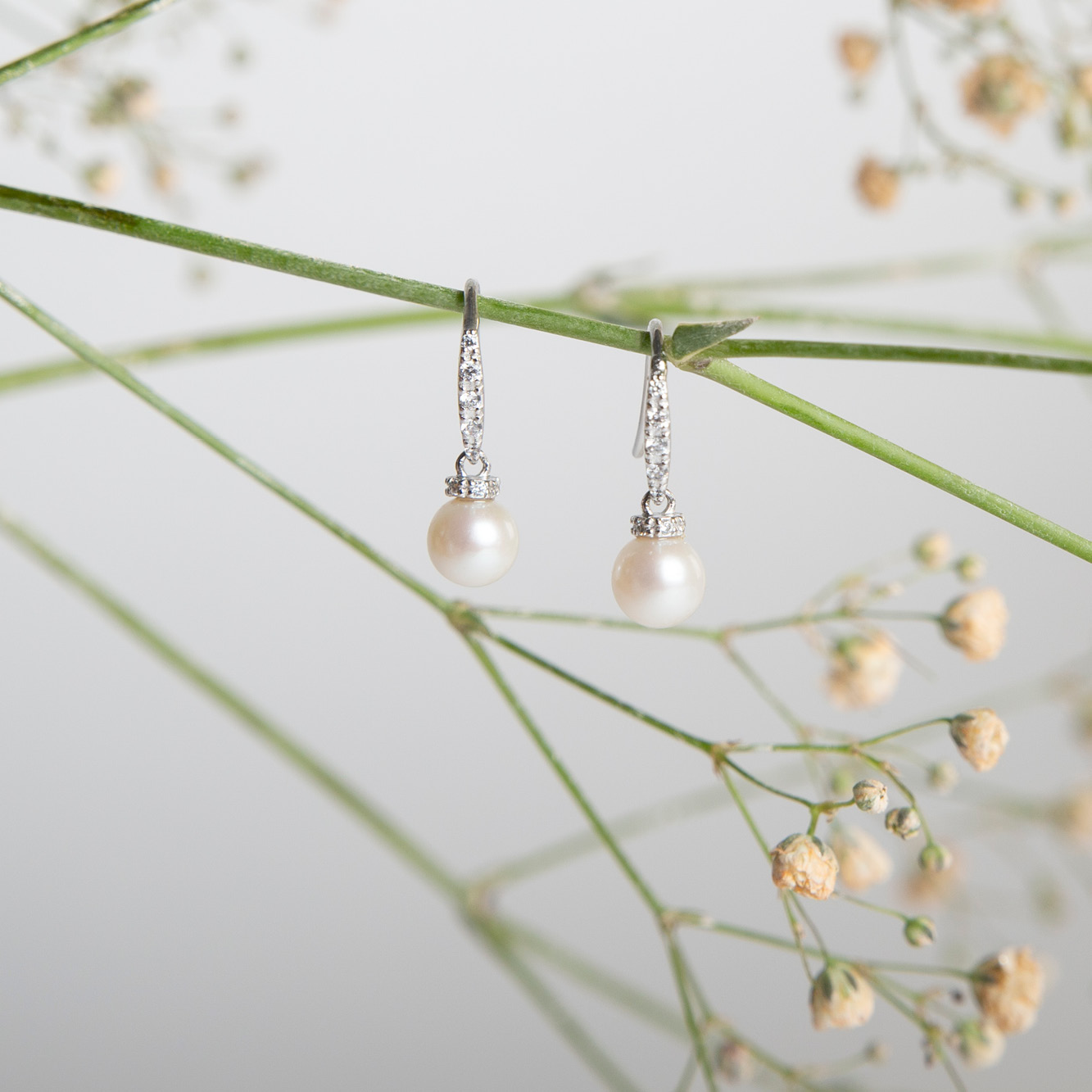 Damen Perlenohrringe Silber 925 Zuchtperlen