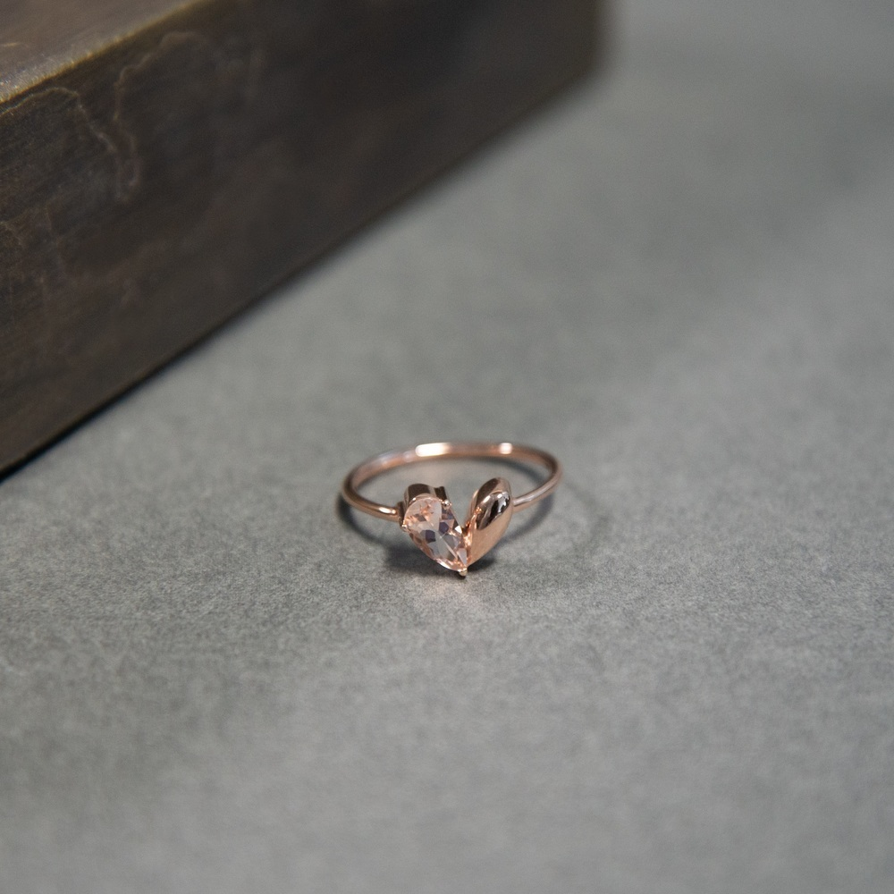 Damenring Roségold 375 Morganit Herz