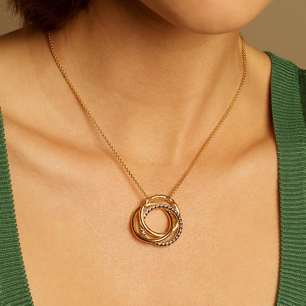 Damen Halskette Vergoldet Bicolor