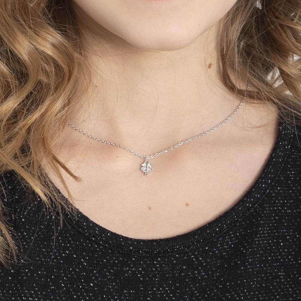 Kinder Halskette Silber 925 Zirkonia Klee