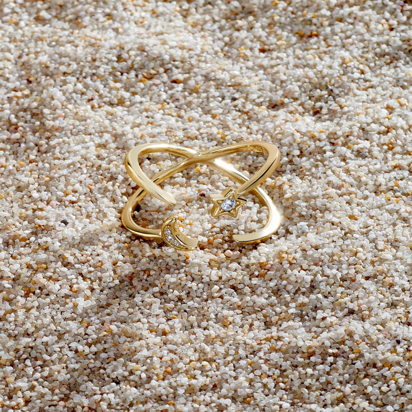 Damenring Silber 925 Vergoldet Stern Halbmond