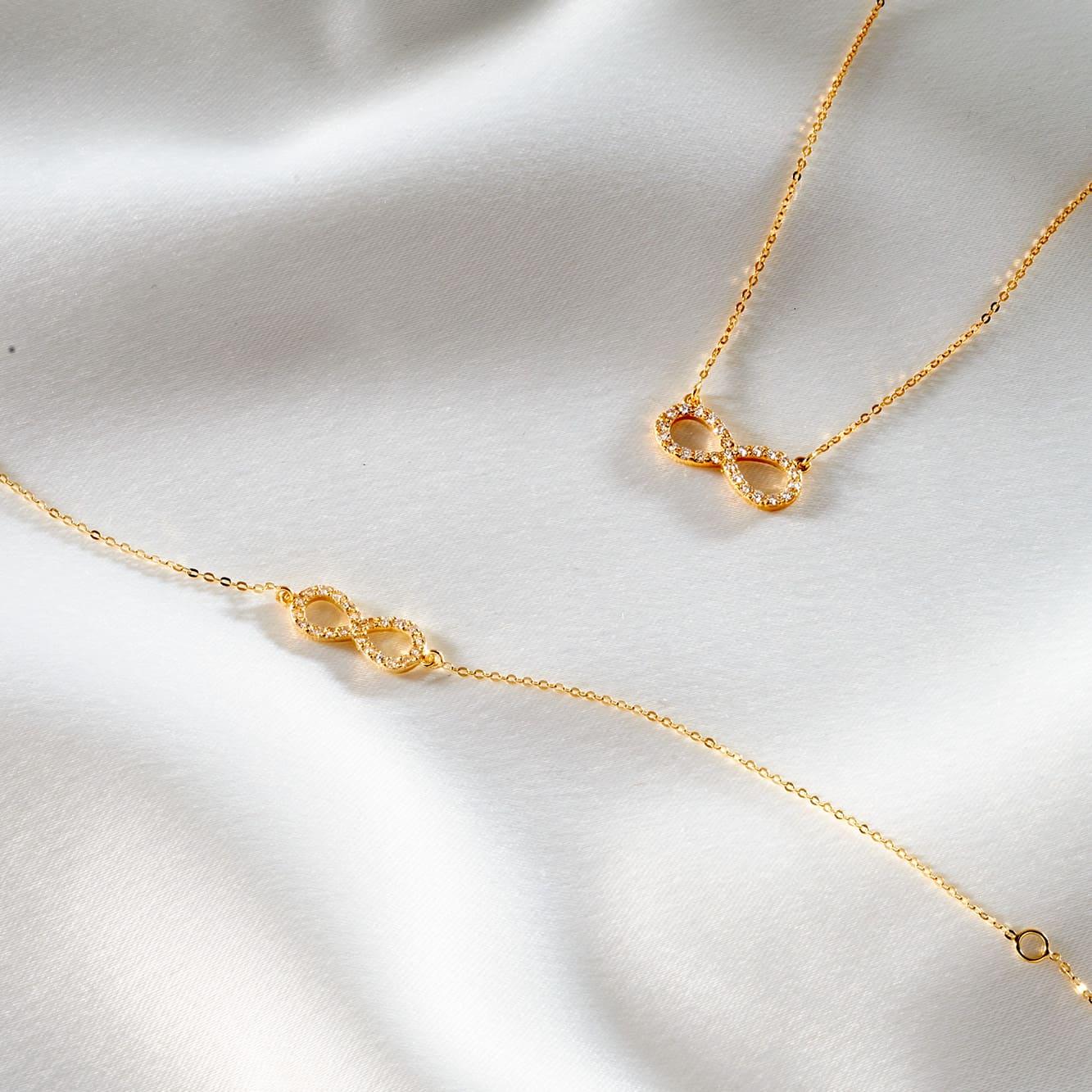 Damen Halskette Gold 375 Zirkonia Infinity