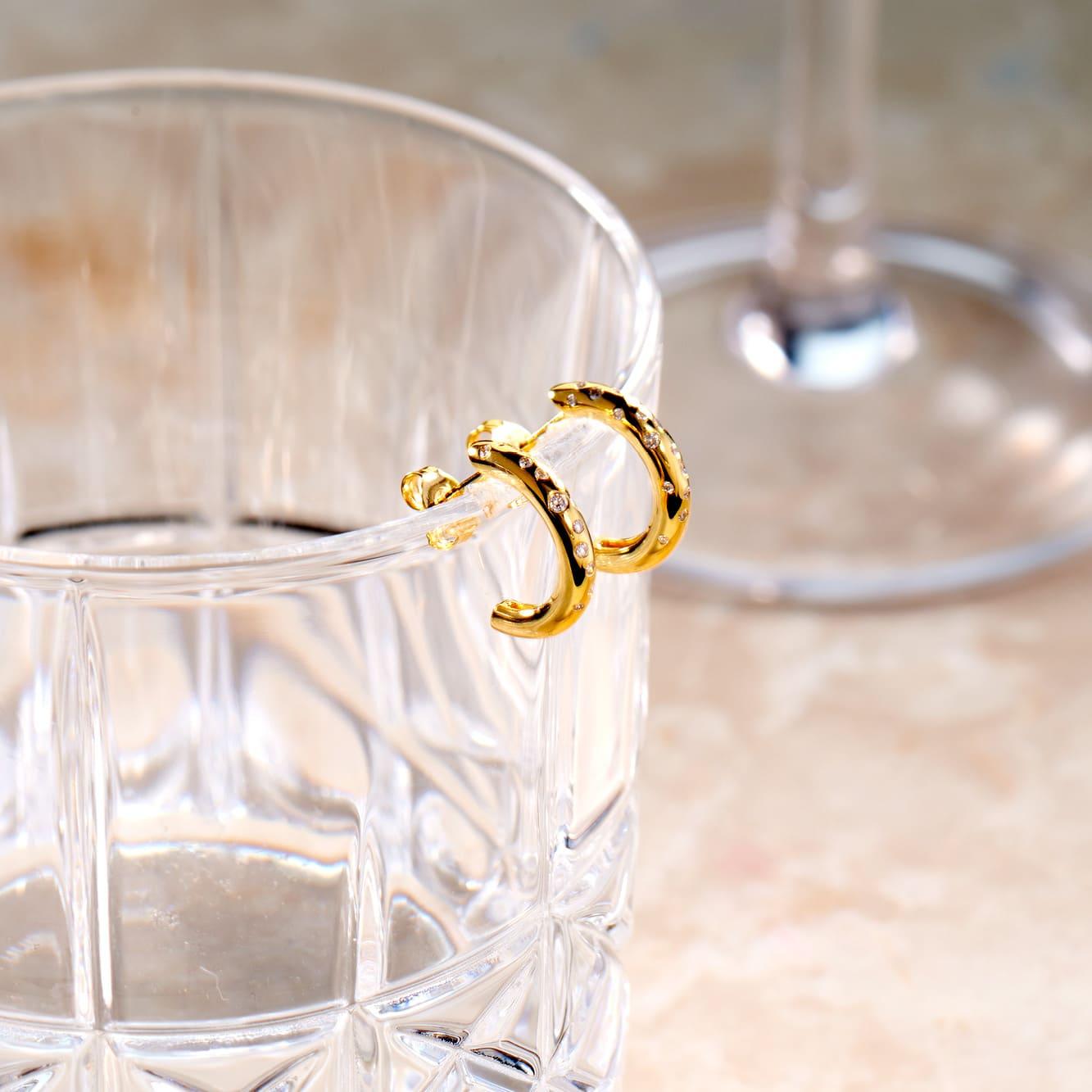 Damen Steckcreolen Gold 375 Diamanten 0,18ct