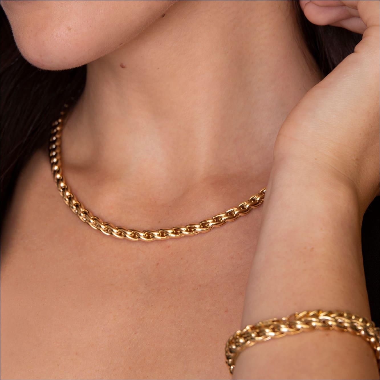 Damen Palmenkette Edelstahl Vergoldet 47cm