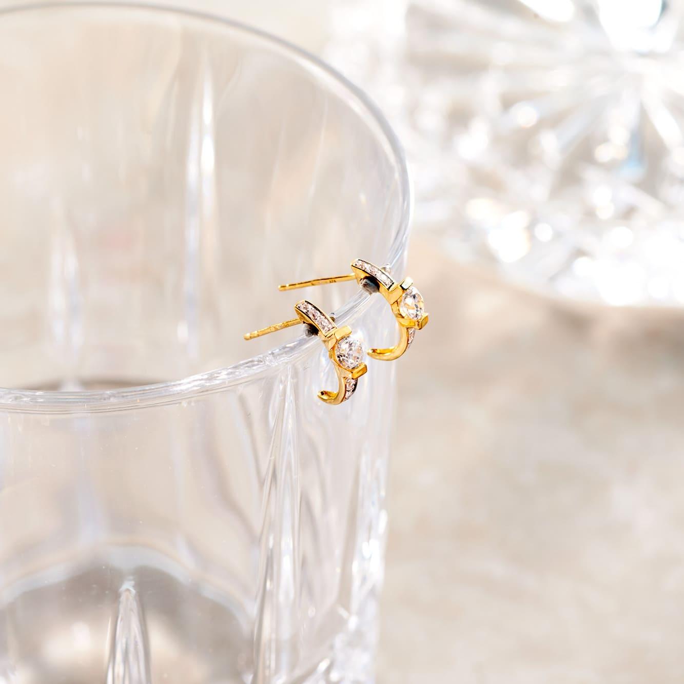 Damen Steckcreolen Gold 375 Zirkonia