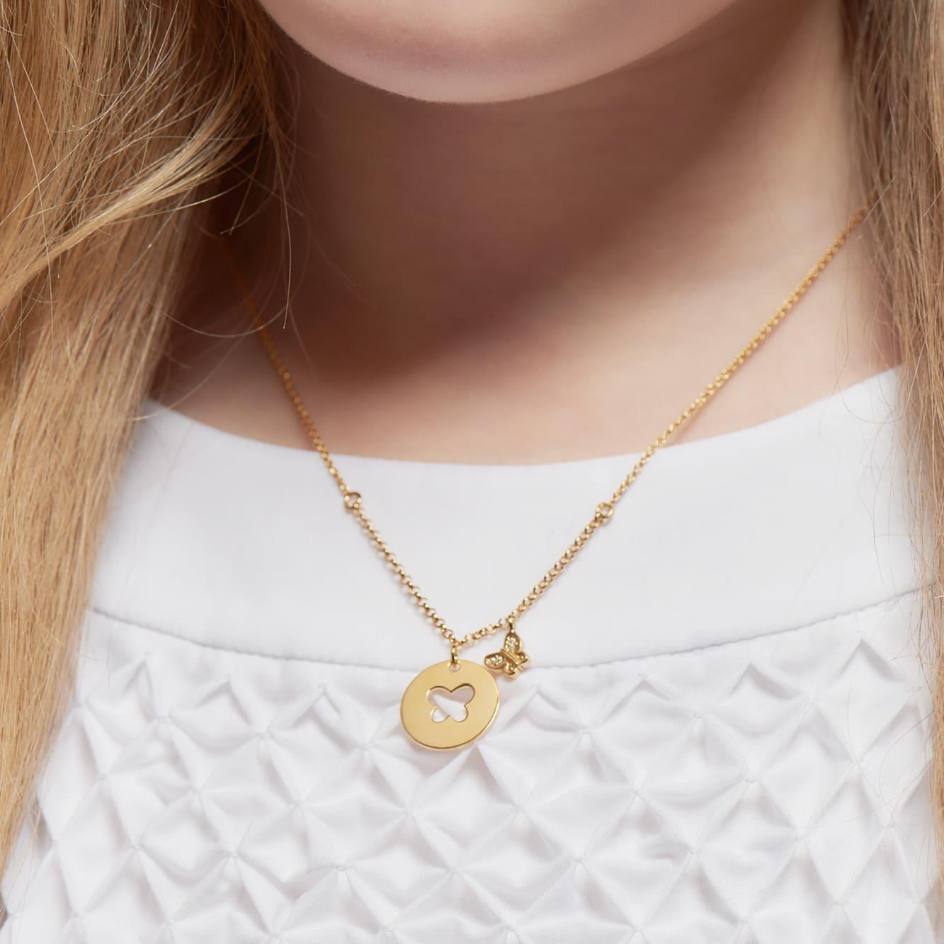 Kinder Halskette Silber 925 Vergoldet Zirkonia