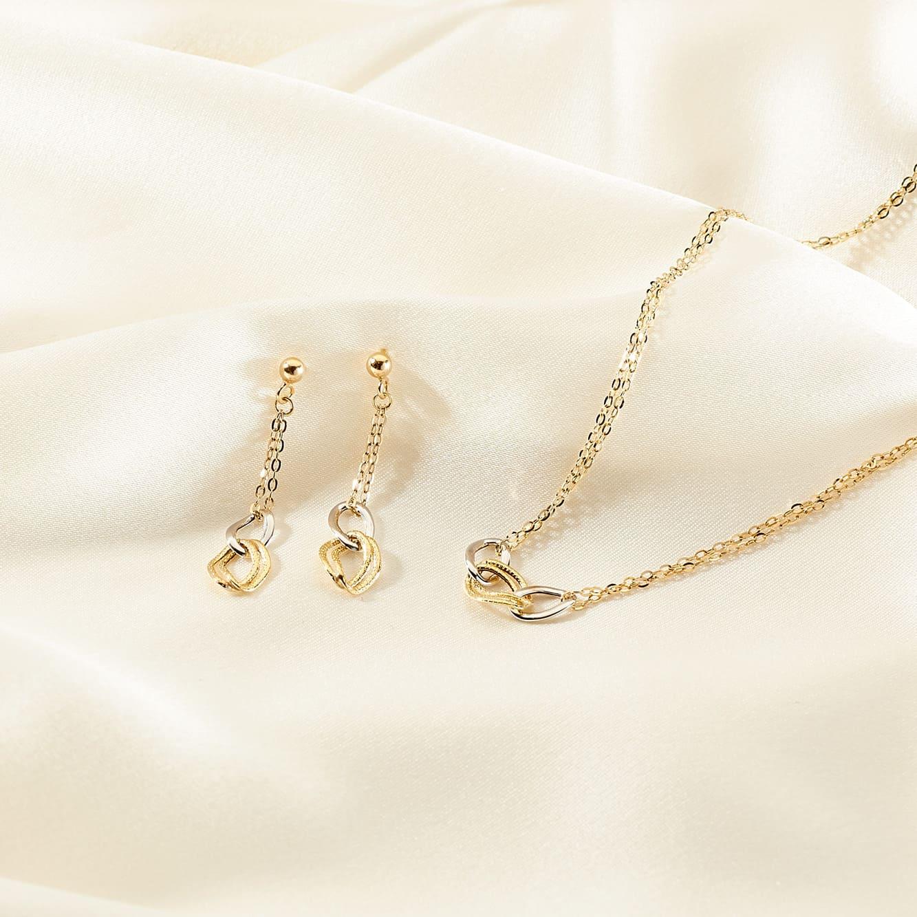 Damen Halskette Gold 375 Bicolor