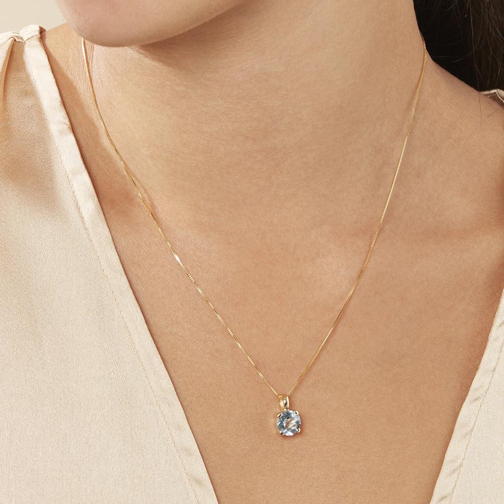 Damen Halskette Gold 375 Topas
