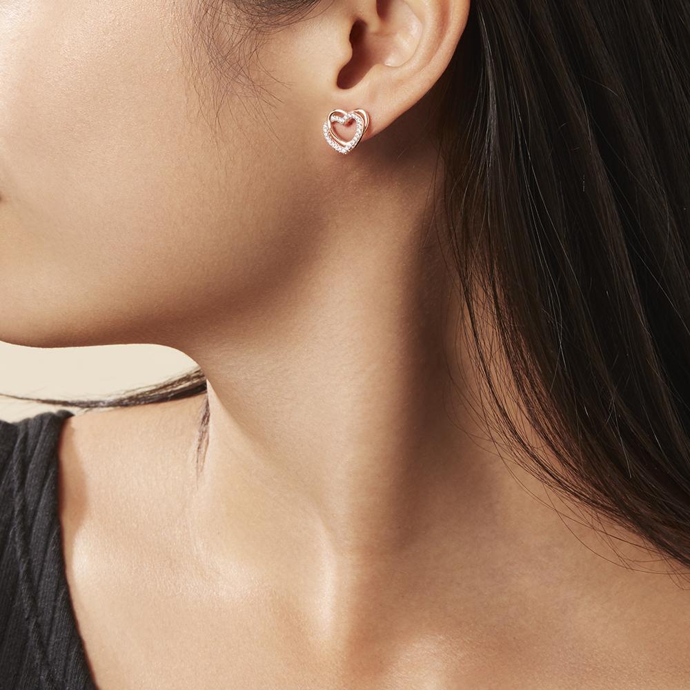 Damen Ohrstecker Silber 925 Rosé Vergoldet Herz