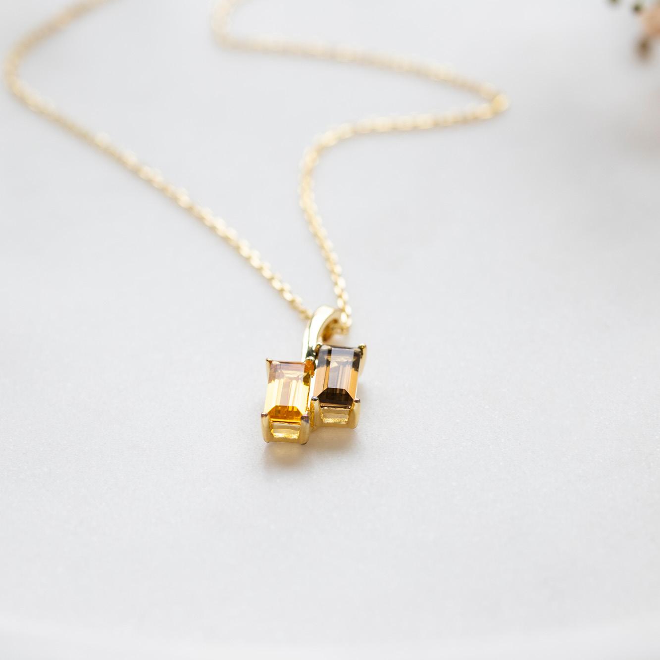 Damen Halskette Silber 925 Vergoldet Citrin Quarz