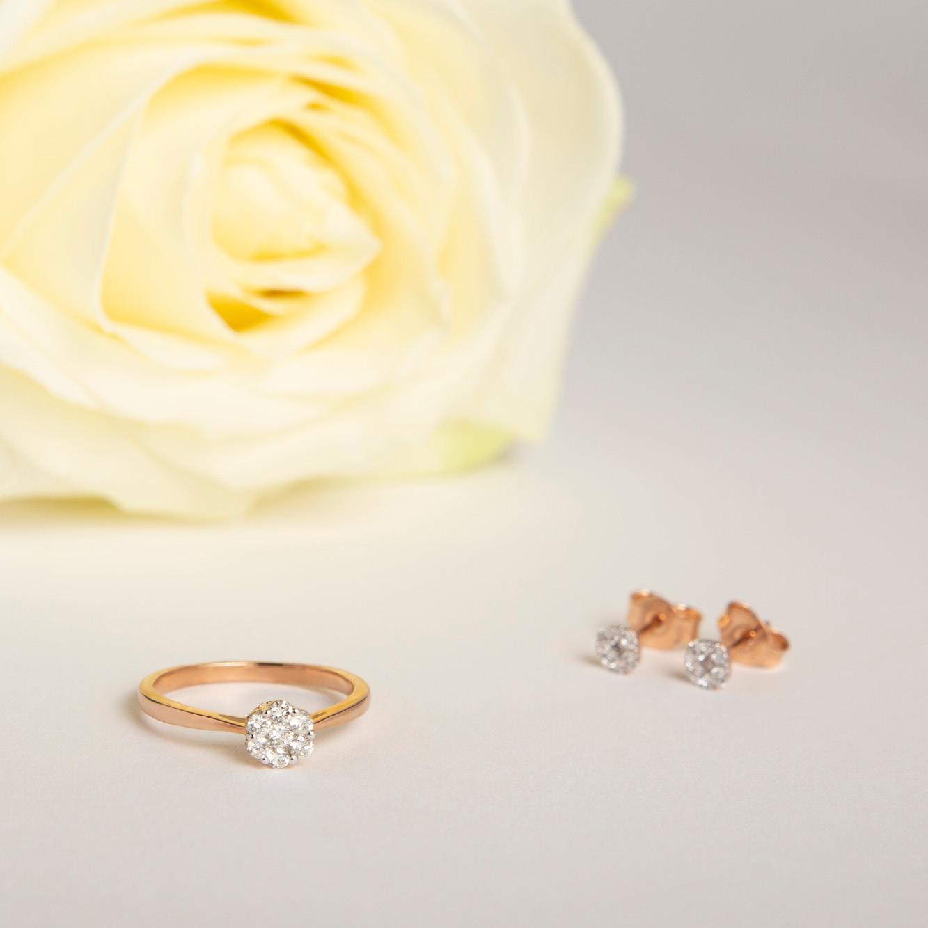 Damen Ohrstecker Gold 375 Rosé Vergoldet Diamanten