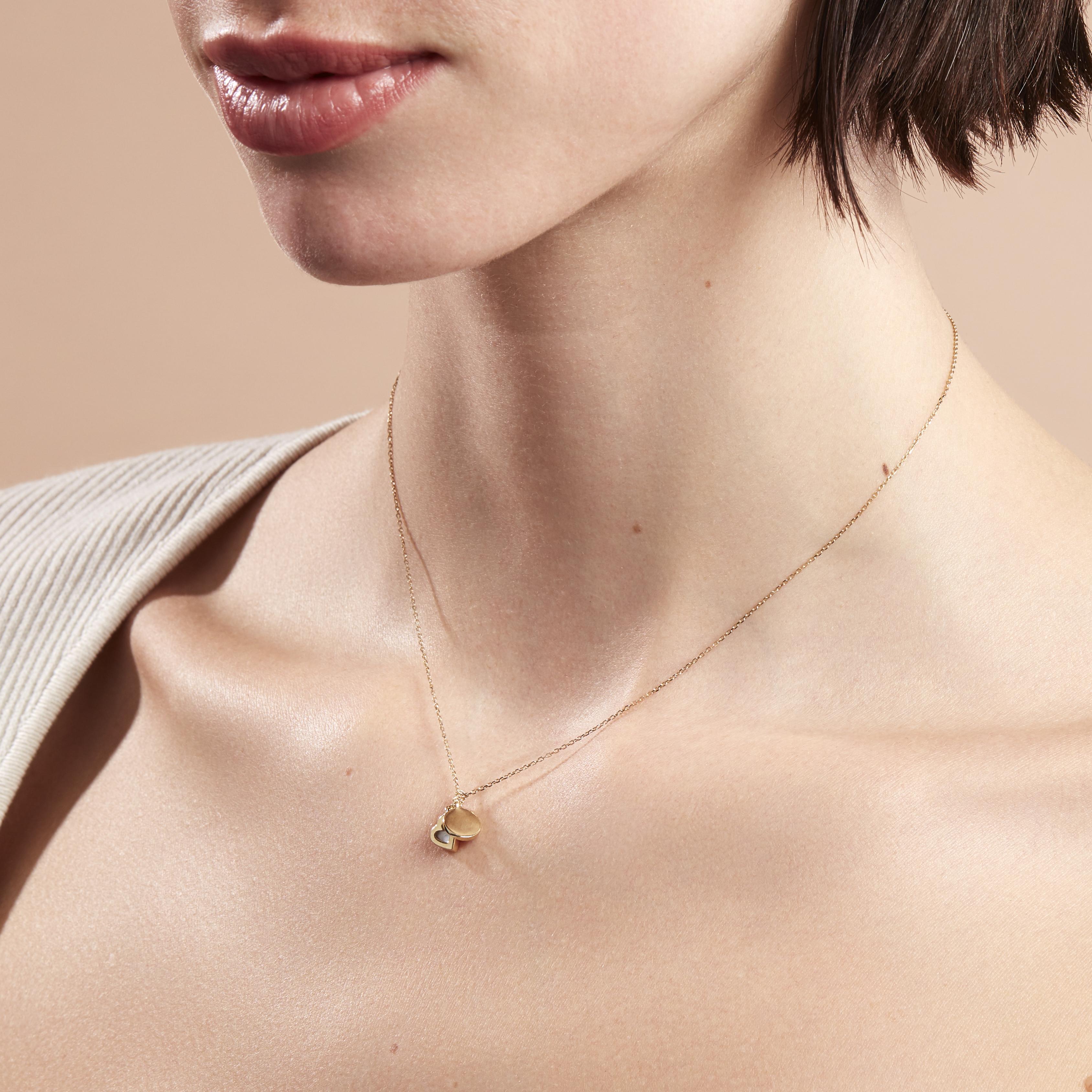 Damen Halskette Gold 375 Perlmutt Herz Gravierbar