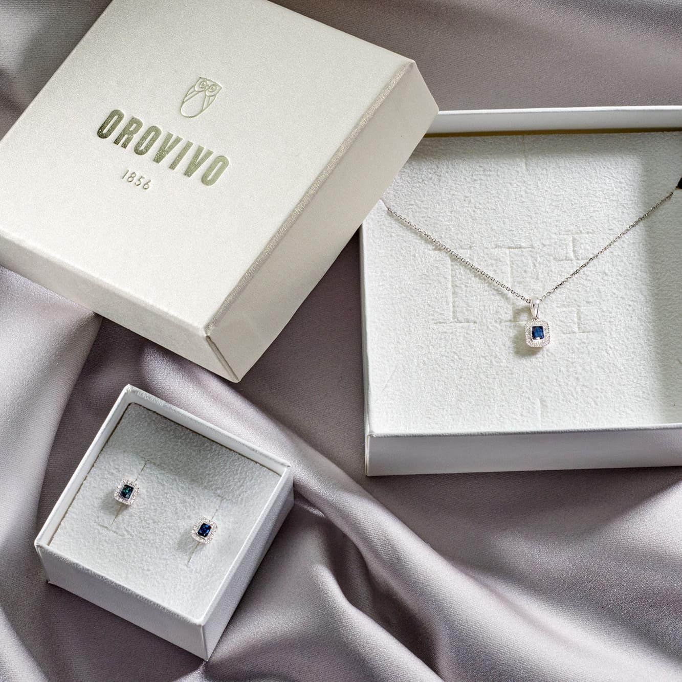 Damen Ohrstecker Weißgold 375 Saphir Diamant 0,1ct