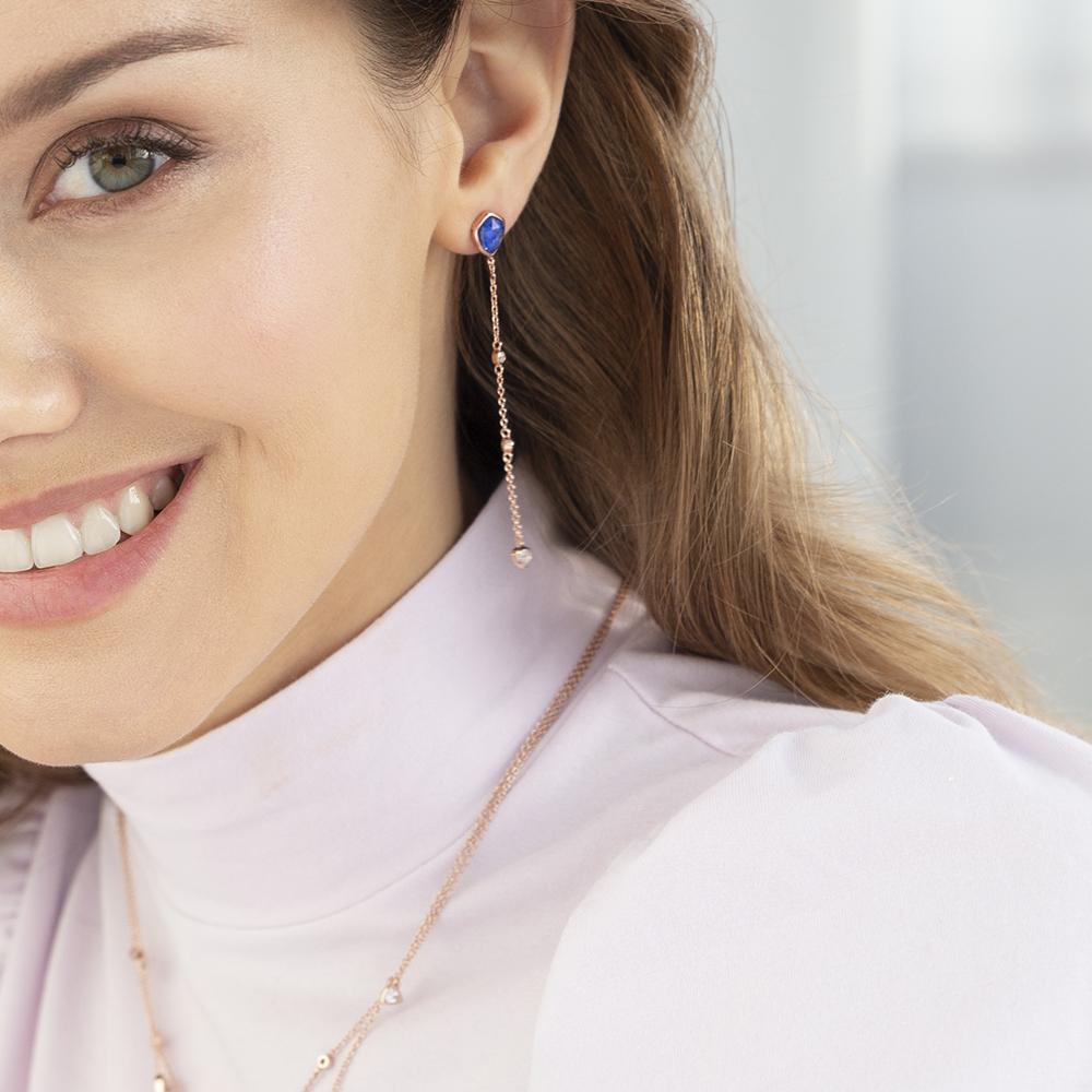 Damen Ohrstecker Lang Silber 925 Rosé Vergoldet