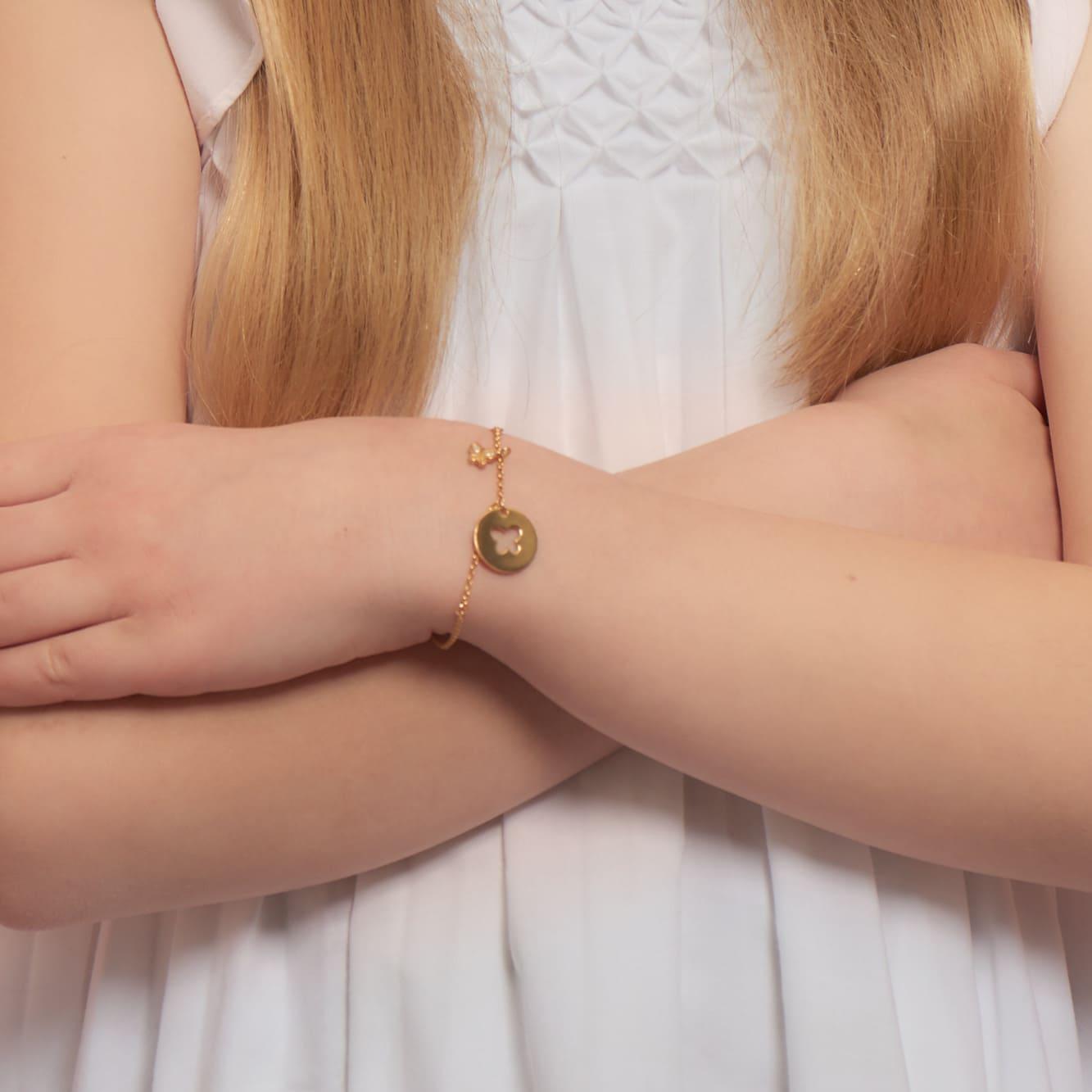 Kinder Charmarmband Silber 925 Vergoldet Zirkonia