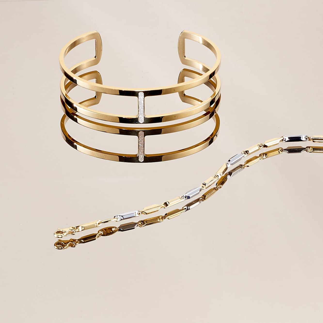 Damenarmband Gold 375 Bicolor
