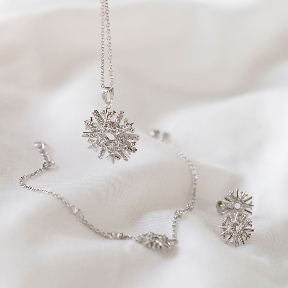 Damen Halskette Silber 925 Zirkonia Schneeflocke