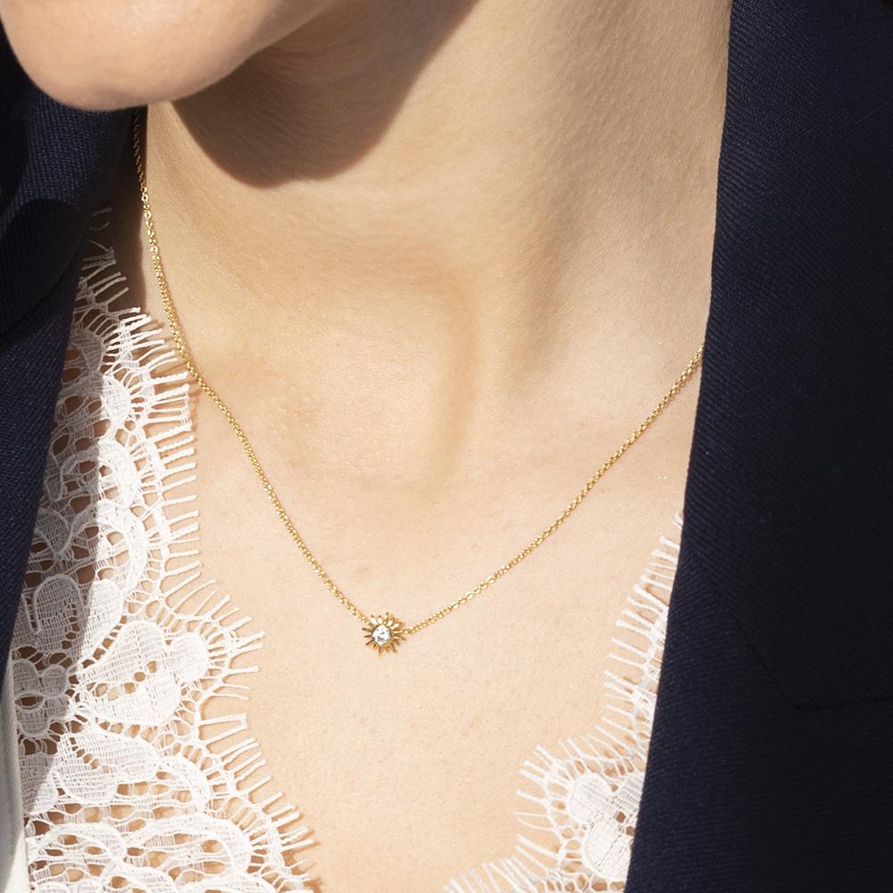 Damen Halskette Silber 925 Vergoldet Zirkonia