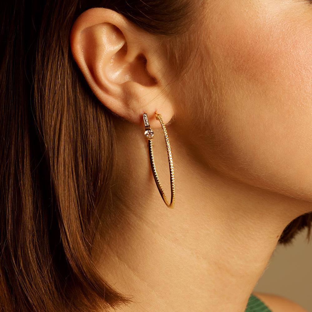 Damen Creolen Silber 925 Vergoldet Zirkonia 40mm